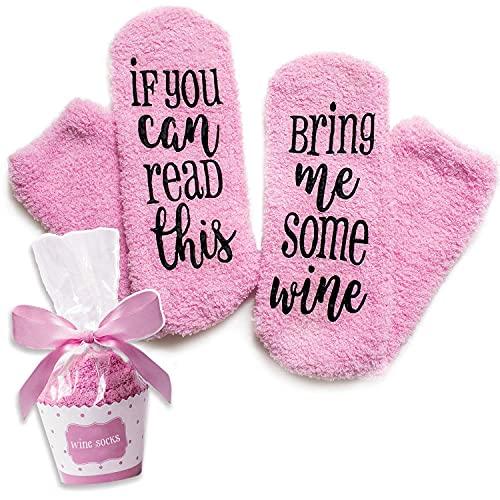 Livole Luxuriöse Wein Socken mit Muffin-Geschenk-Verpackung Weinliebhaber, Letter Print Socken If You can Read This Bring me Wine, Lustiges Casual Socken für Frauen Ältester, Freund und Liebhaber