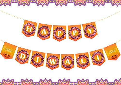 Happy Diwali Banner Indisches Festival der Lichter Rustikale Party Dekoration Wimpelkette Banner Mutter Laxmi Happy für Hindu, Deepavali Party Supplies Indoor Outdoor Decor
